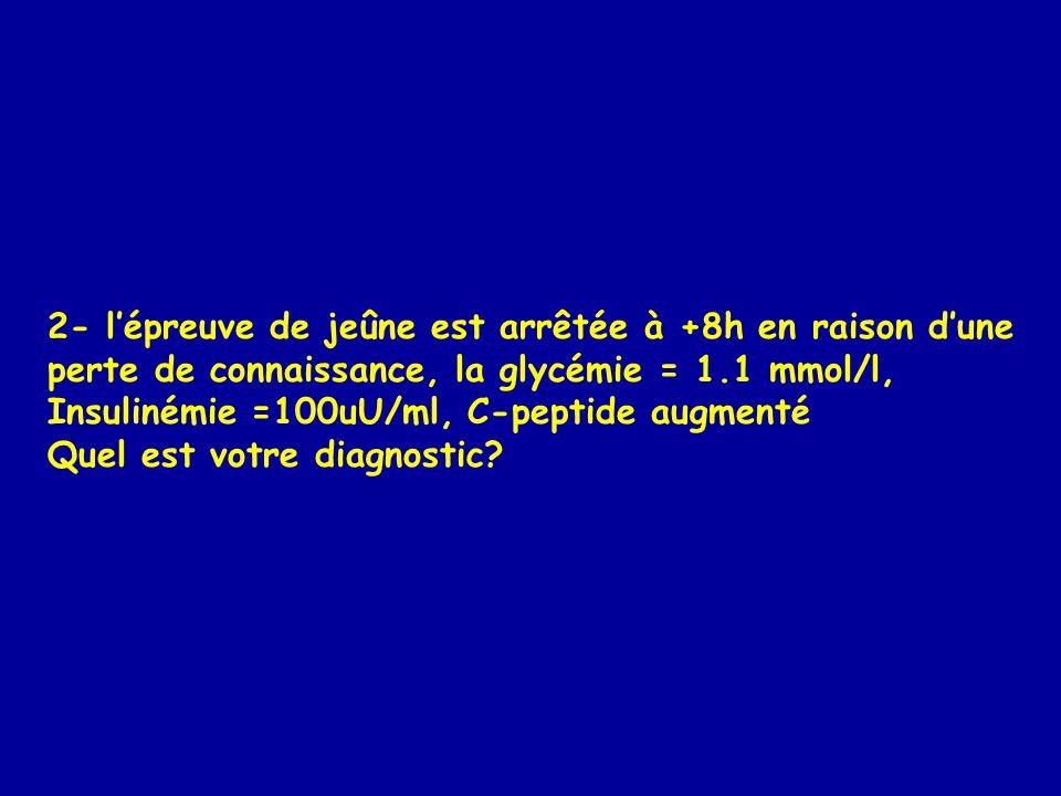 2- lépreuve de jeûne est arrêtée à +8h en raison dune perte de connaissance, la glycémie = 1.1 mmol/l, Insulinémie =100uU/ml, C-peptide augmenté Quel