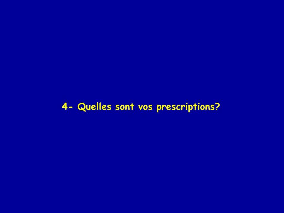 4- Quelles sont vos prescriptions?