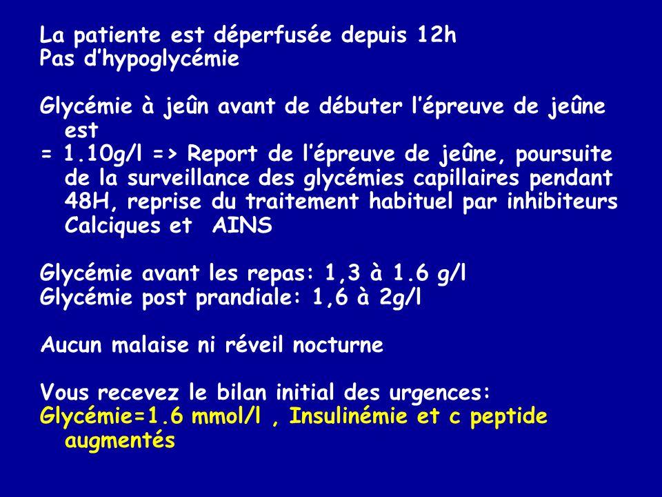 La patiente est déperfusée depuis 12h Pas dhypoglycémie Glycémie à jeûn avant de débuter lépreuve de jeûne est = 1.10g/l => Report de lépreuve de jeûn
