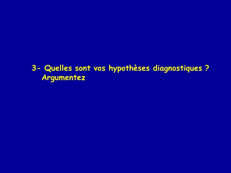 3- Quelles sont vos hypothèses diagnostiques ? Argumentez