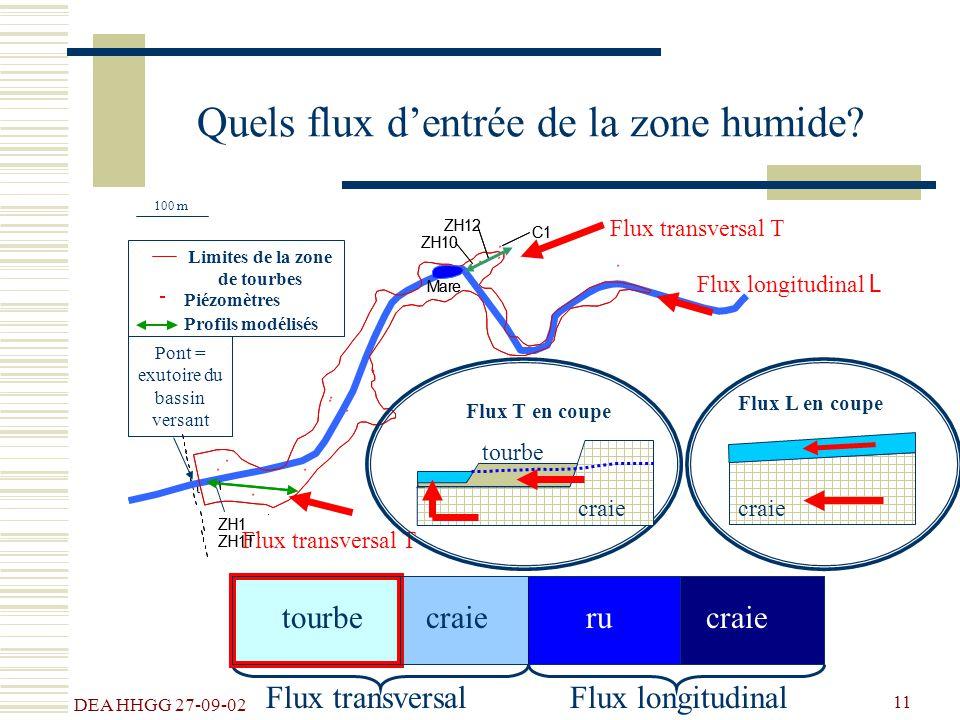 DEA HHGG 27-09-02 11 Entrée du bassin versant = pluies efficaces Flux longitudinalFlux transversal Quels flux dentrée de la zone humide? Flux transver