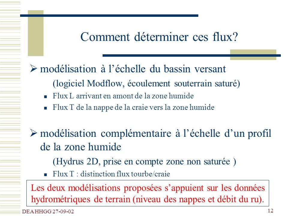DEA HHGG 27-09-02 12 Comment déterminer ces flux? modélisation à léchelle du bassin versant (logiciel Modflow, écoulement souterrain saturé) Flux L ar