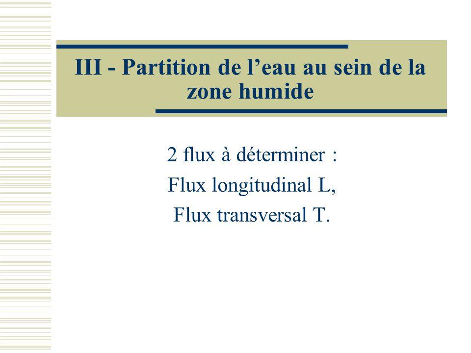 III - Partition de leau au sein de la zone humide 2 flux à déterminer : Flux longitudinal L, Flux transversal T.