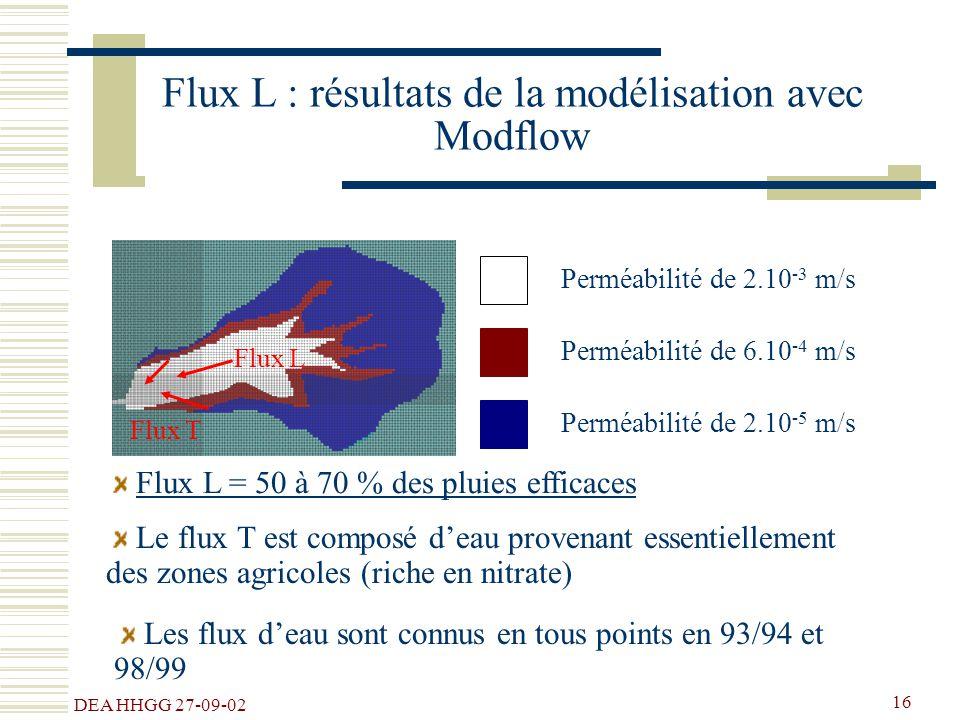 DEA HHGG 27-09-02 16 Flux L : résultats de la modélisation avec Modflow Perméabilité de 2.10 -3 m/s Perméabilité de 6.10 -4 m/s Perméabilité de 2.10 -