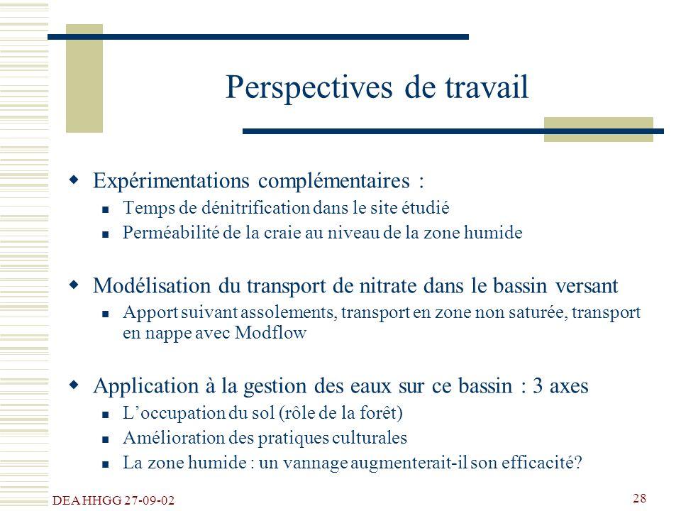 DEA HHGG 27-09-02 28 Perspectives de travail Expérimentations complémentaires : Temps de dénitrification dans le site étudié Perméabilité de la craie