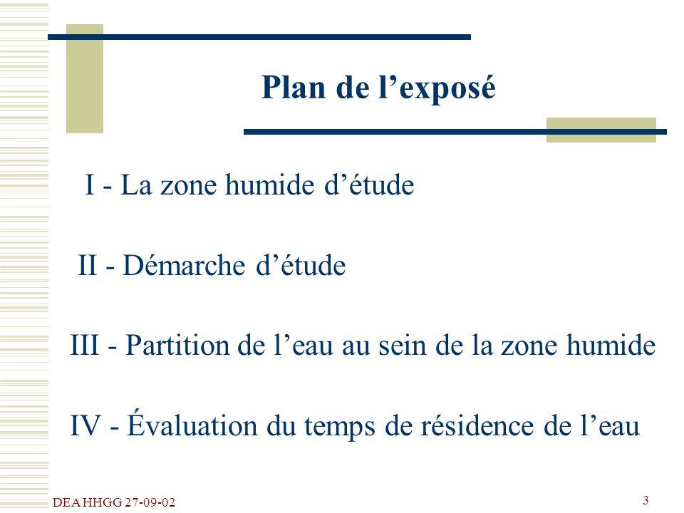 DEA HHGG 27-09-02 3 Plan de lexposé I - La zone humide détude II - Démarche détude III - Partition de leau au sein de la zone humide IV - Évaluation d