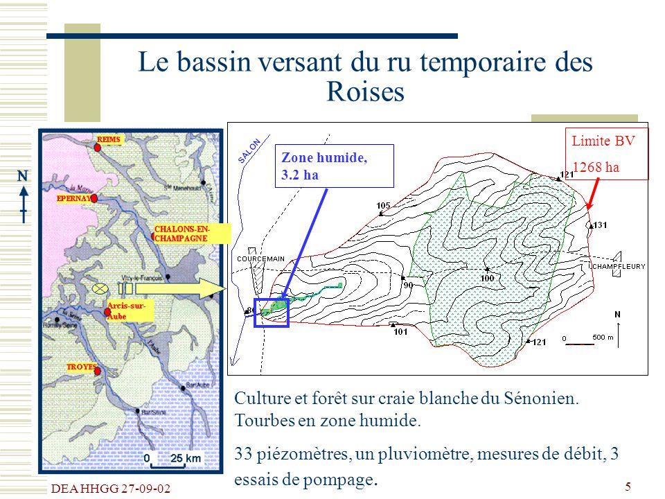 DEA HHGG 27-09-02 5 Culture et forêt sur craie blanche du Sénonien. Tourbes en zone humide. 33 piézomètres, un pluviomètre, mesures de débit, 3 essais
