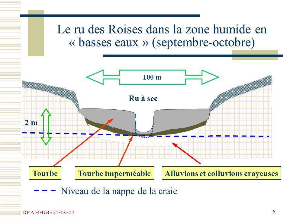DEA HHGG 27-09-02 6 100 m Ru à sec Le ru des Roises dans la zone humide en « basses eaux » (septembre-octobre) TourbeAlluvions et colluvions crayeuses