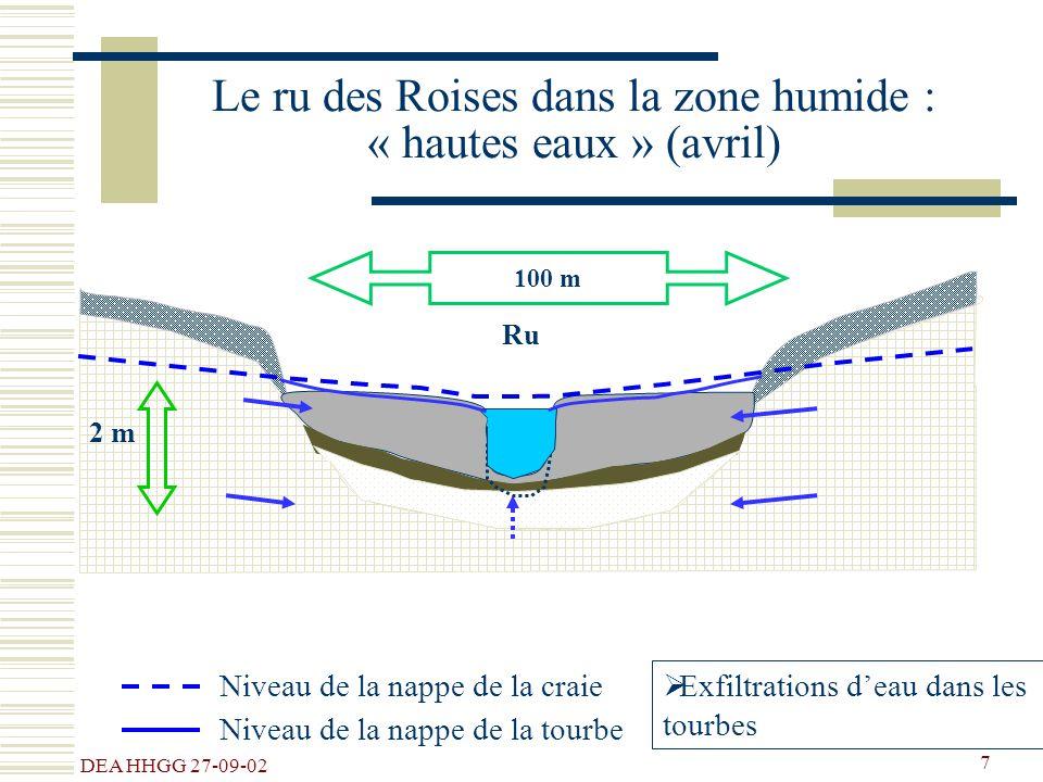 DEA HHGG 27-09-02 7 100 m Ru Le ru des Roises dans la zone humide : « hautes eaux » (avril) Niveau de la nappe de la craie Exfiltrations deau dans les