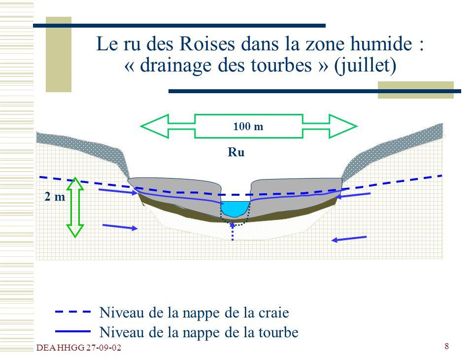 DEA HHGG 27-09-02 8 100 m Ru Le ru des Roises dans la zone humide : « drainage des tourbes » (juillet) Niveau de la nappe de la craie 2 m Niveau de la
