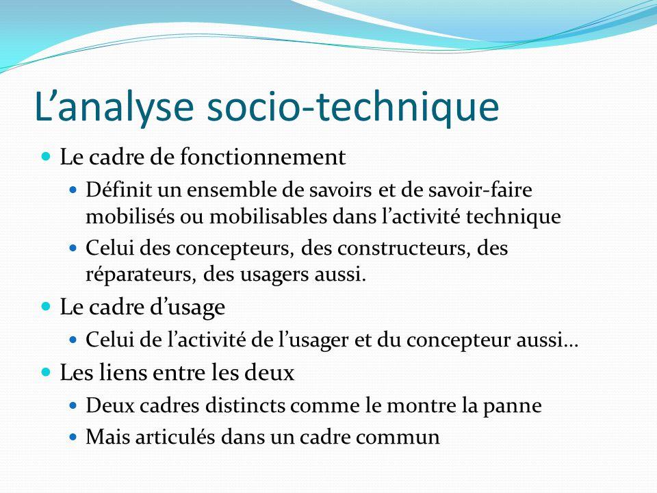 Lanalyse socio-technique Le cadre de fonctionnement Définit un ensemble de savoirs et de savoir-faire mobilisés ou mobilisables dans lactivité technique Celui des concepteurs, des constructeurs, des réparateurs, des usagers aussi.