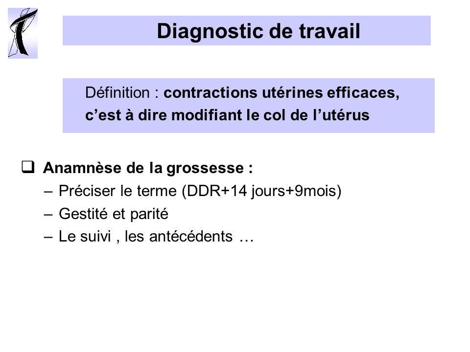 Diagnostic de travail Anamnèse de la grossesse : –Préciser le terme (DDR+14 jours+9mois) –Gestité et parité –Le suivi, les antécédents … Définition : contractions utérines efficaces, cest à dire modifiant le col de lutérus