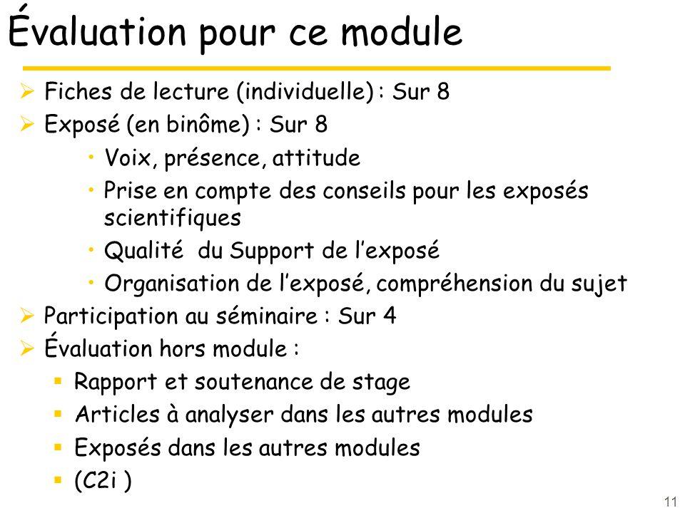 11 Évaluation pour ce module Fiches de lecture (individuelle) : Sur 8 Exposé (en binôme) : Sur 8 Voix, présence, attitude Prise en compte des conseils
