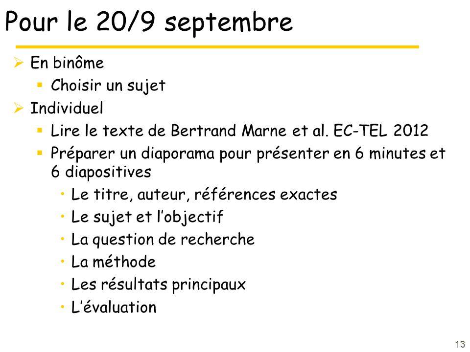 13 Pour le 20/9 septembre En binôme Choisir un sujet Individuel Lire le texte de Bertrand Marne et al. EC-TEL 2012 Préparer un diaporama pour présente