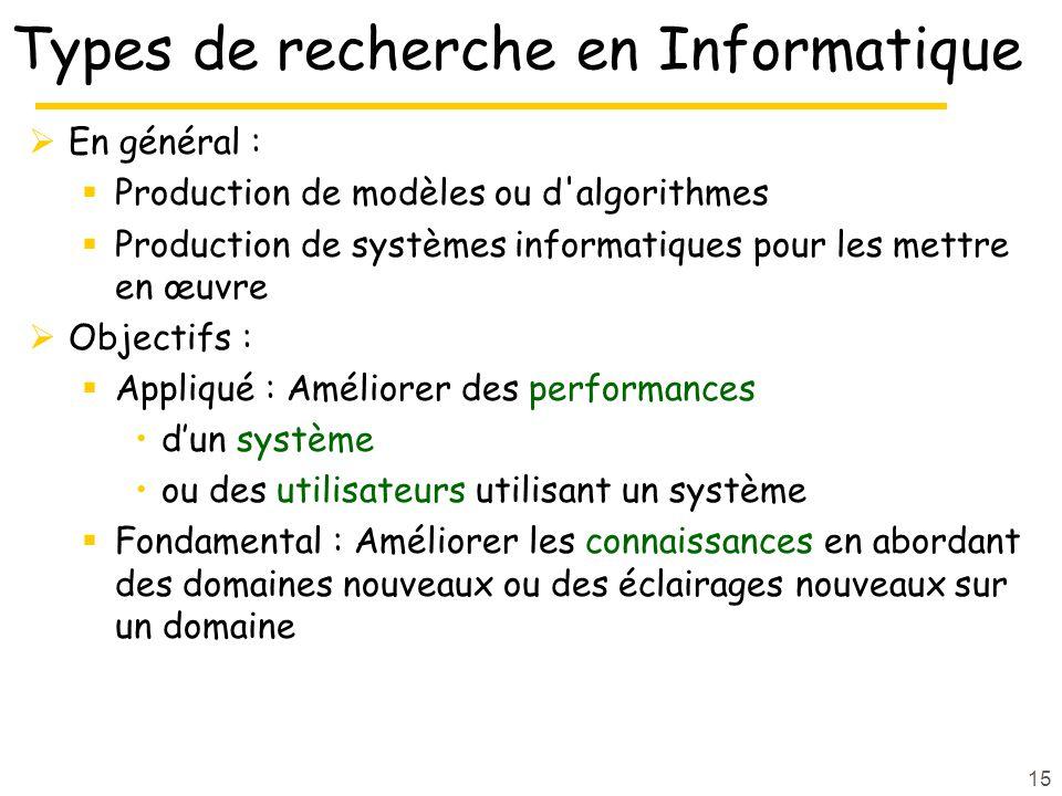 15 Types de recherche en Informatique En général : Production de modèles ou d'algorithmes Production de systèmes informatiques pour les mettre en œuvr
