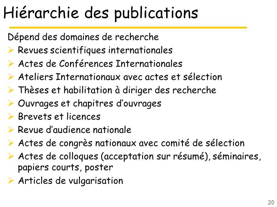 Hiérarchie des publications Dépend des domaines de recherche Revues scientifiques internationales Actes de Conférences Internationales Ateliers Intern