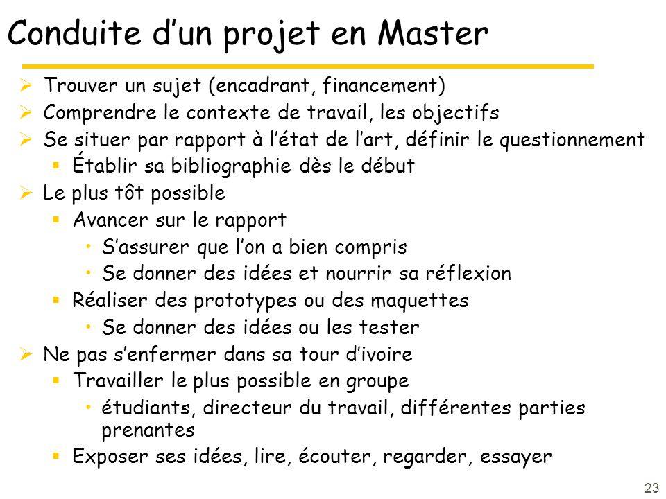 23 Conduite dun projet en Master Trouver un sujet (encadrant, financement) Comprendre le contexte de travail, les objectifs Se situer par rapport à lé