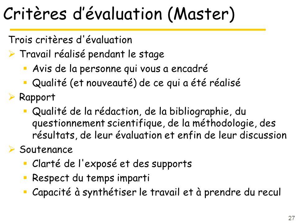 Critères dévaluation (Master) Trois critères d'évaluation Travail réalisé pendant le stage Avis de la personne qui vous a encadré Qualité (et nouveaut