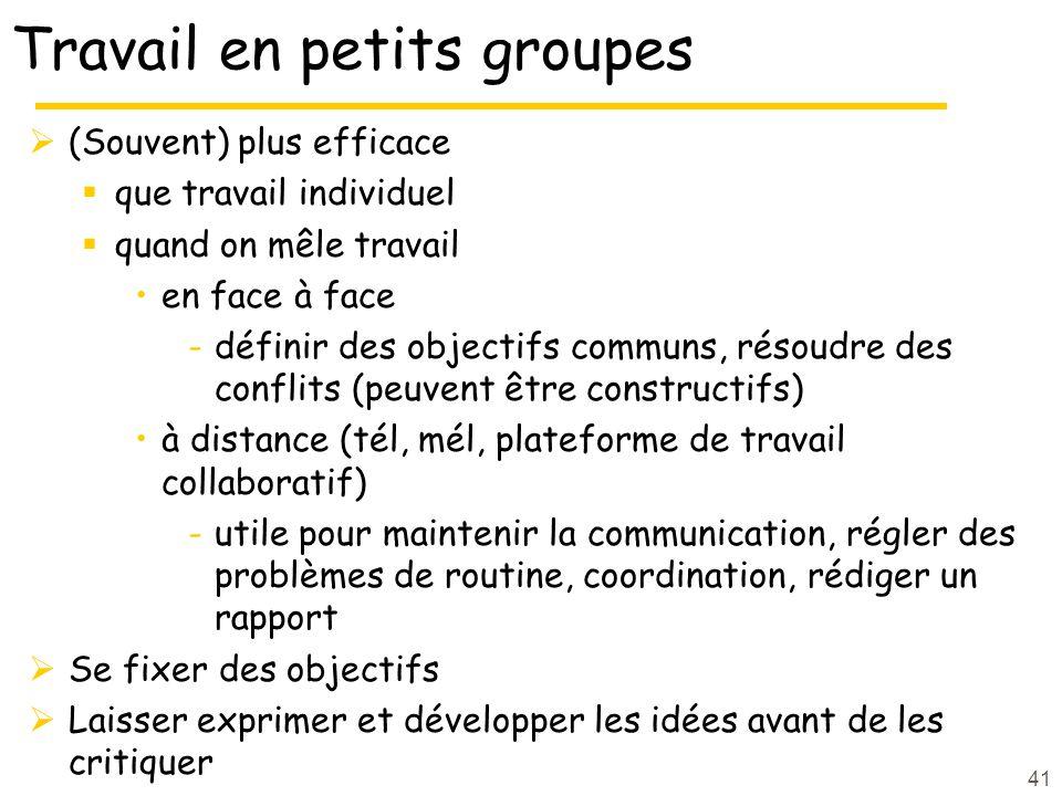41 Travail en petits groupes (Souvent) plus efficace que travail individuel quand on mêle travail en face à face -définir des objectifs communs, résou