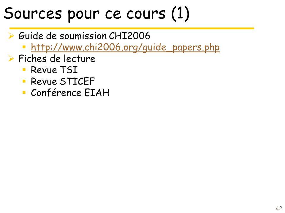 42 Sources pour ce cours (1) Guide de soumission CHI2006 http://www.chi2006.org/guide_papers.php Fiches de lecture Revue TSI Revue STICEF Conférence EIAH