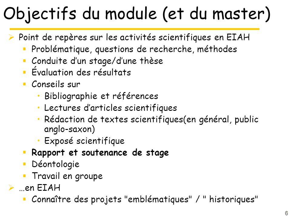 6 Objectifs du module (et du master) Point de repères sur les activités scientifiques en EIAH Problématique, questions de recherche, méthodes Conduite