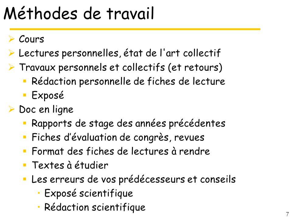 7 Méthodes de travail Cours Lectures personnelles, état de l'art collectif Travaux personnels et collectifs (et retours) Rédaction personnelle de fich
