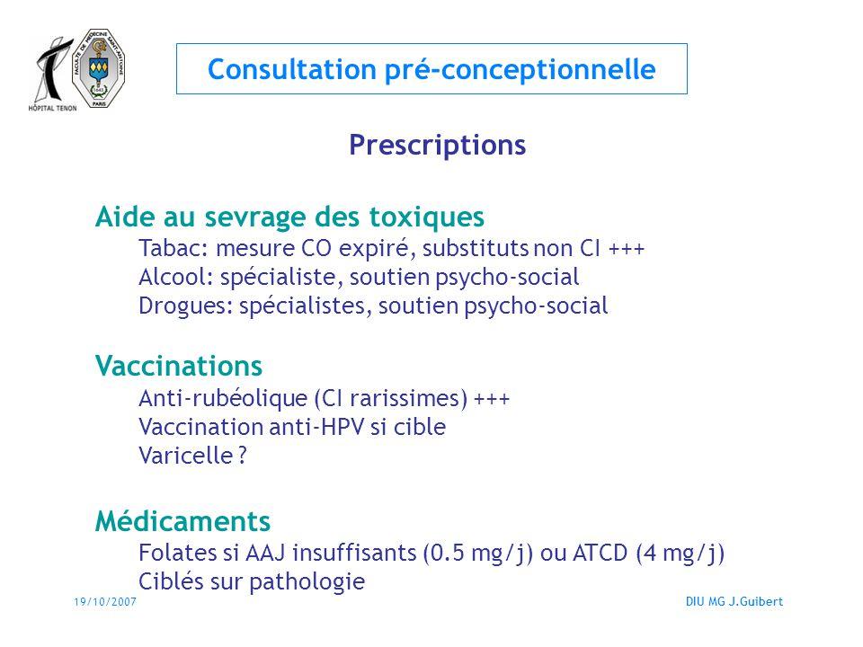 19/10/2007DIU MG J.Guibert Consultation pré-conceptionnelle Prescriptions Aide au sevrage des toxiques Tabac: mesure CO expiré, substituts non CI +++