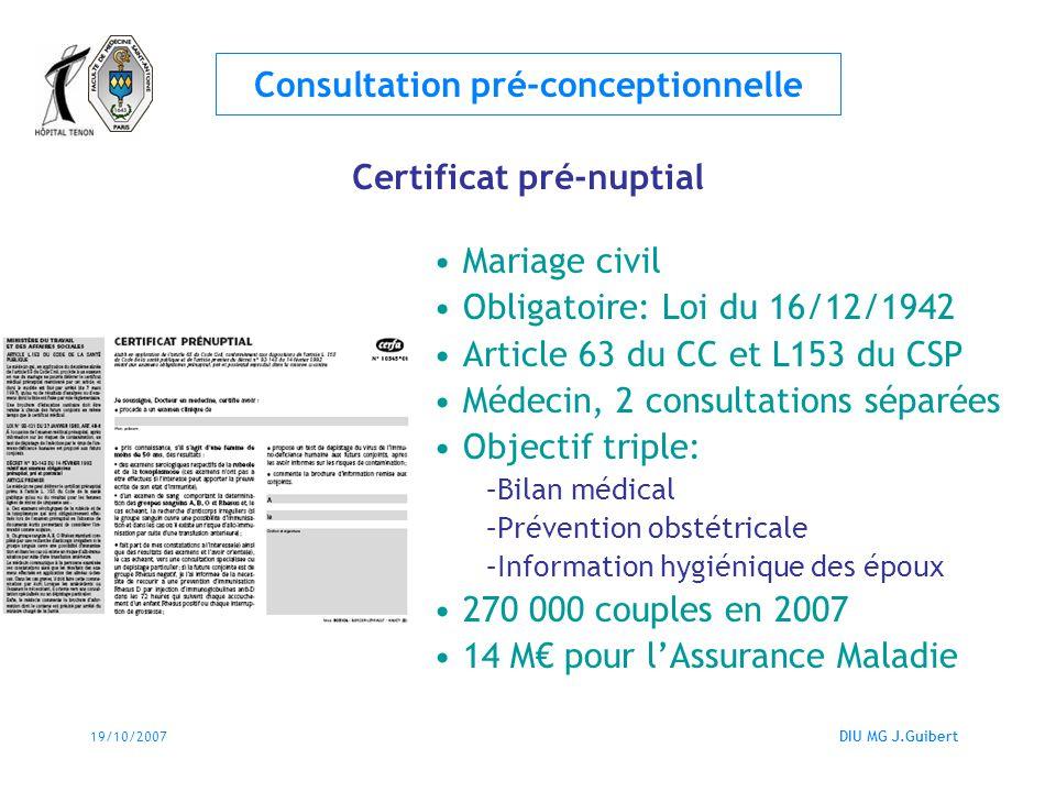 19/10/2007DIU MG J.Guibert Consultation pré-conceptionnelle Certificat pré-nuptial Mariage civil Obligatoire: Loi du 16/12/1942 Article 63 du CC et L1