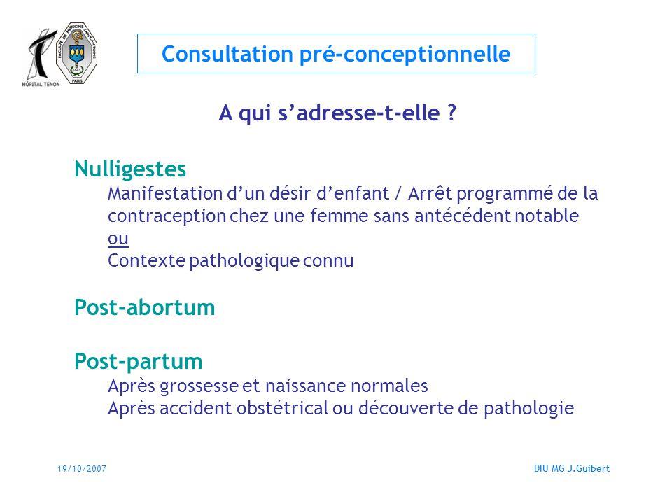 19/10/2007DIU MG J.Guibert Consultation pré-conceptionnelle Qui est chargé de cette consultation .
