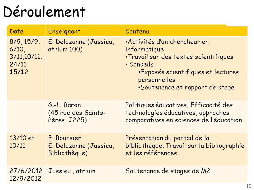 Déroulement DateEnseignantContenu 8/9, 15/9, 6/10, 3/11,10/11, 24/11 15/12 É.
