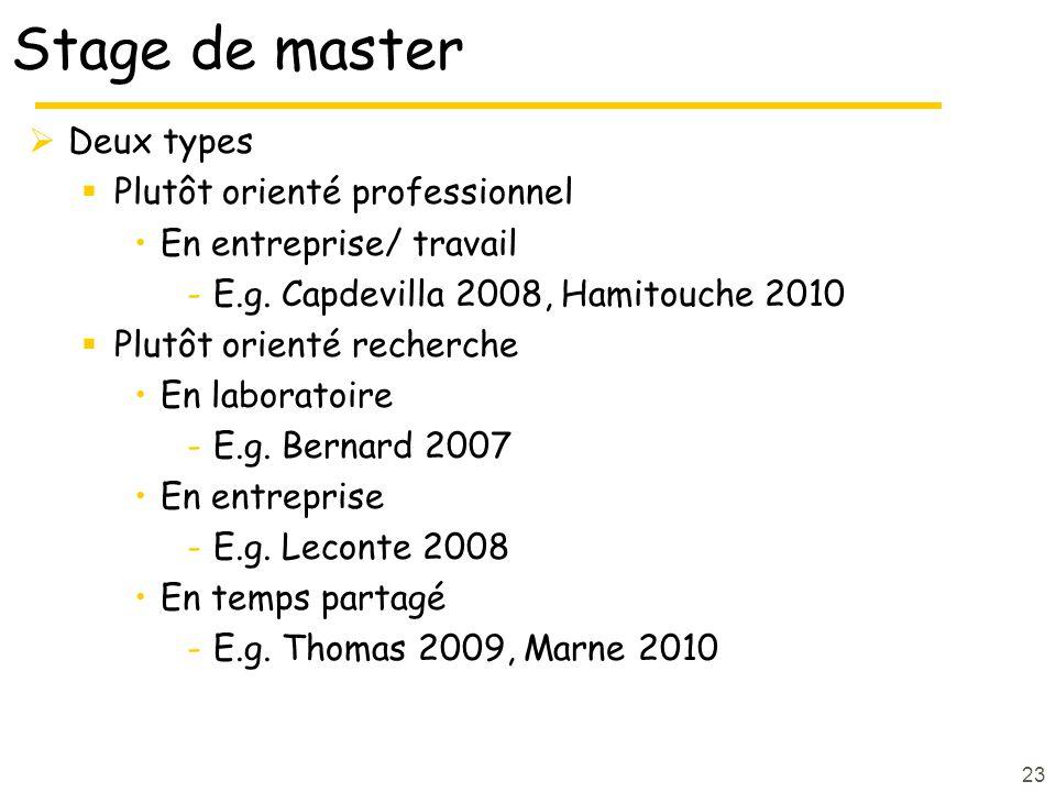 Stage de master Deux types Plutôt orienté professionnel En entreprise/ travail -E.g.