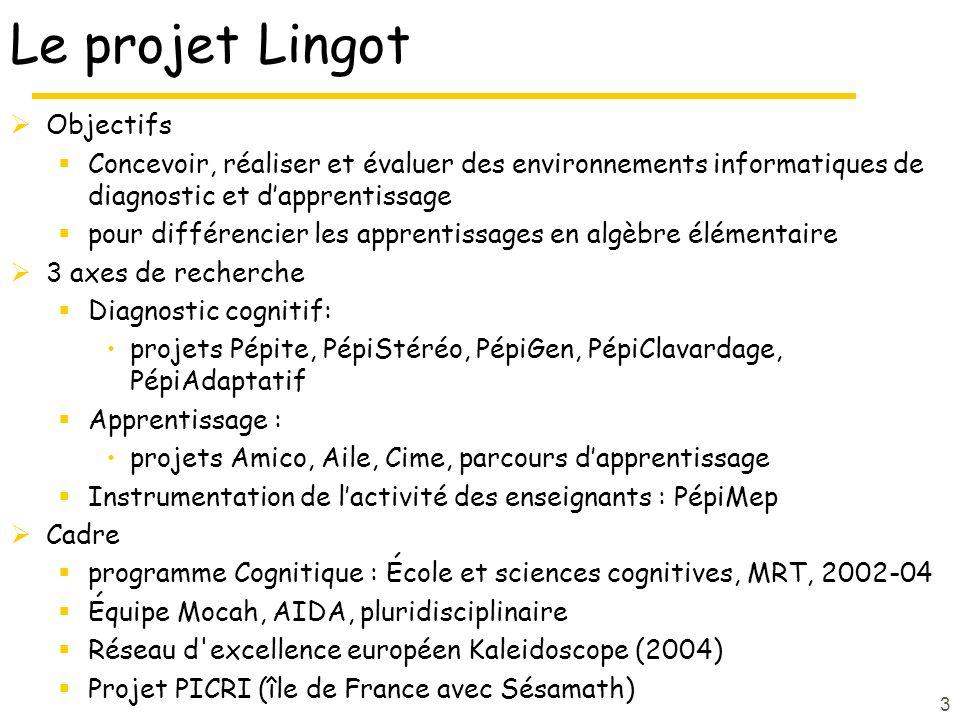 3 Le projet Lingot Objectifs Concevoir, réaliser et évaluer des environnements informatiques de diagnostic et dapprentissage pour différencier les apprentissages en algèbre élémentaire 3 axes de recherche Diagnostic cognitif: projets Pépite, PépiStéréo, PépiGen, PépiClavardage, PépiAdaptatif Apprentissage : projets Amico, Aile, Cime, parcours dapprentissage Instrumentation de lactivité des enseignants : PépiMep Cadre programme Cognitique : École et sciences cognitives, MRT, 2002-04 Équipe Mocah, AIDA, pluridisciplinaire Réseau d excellence européen Kaleidoscope (2004) Projet PICRI (île de France avec Sésamath)