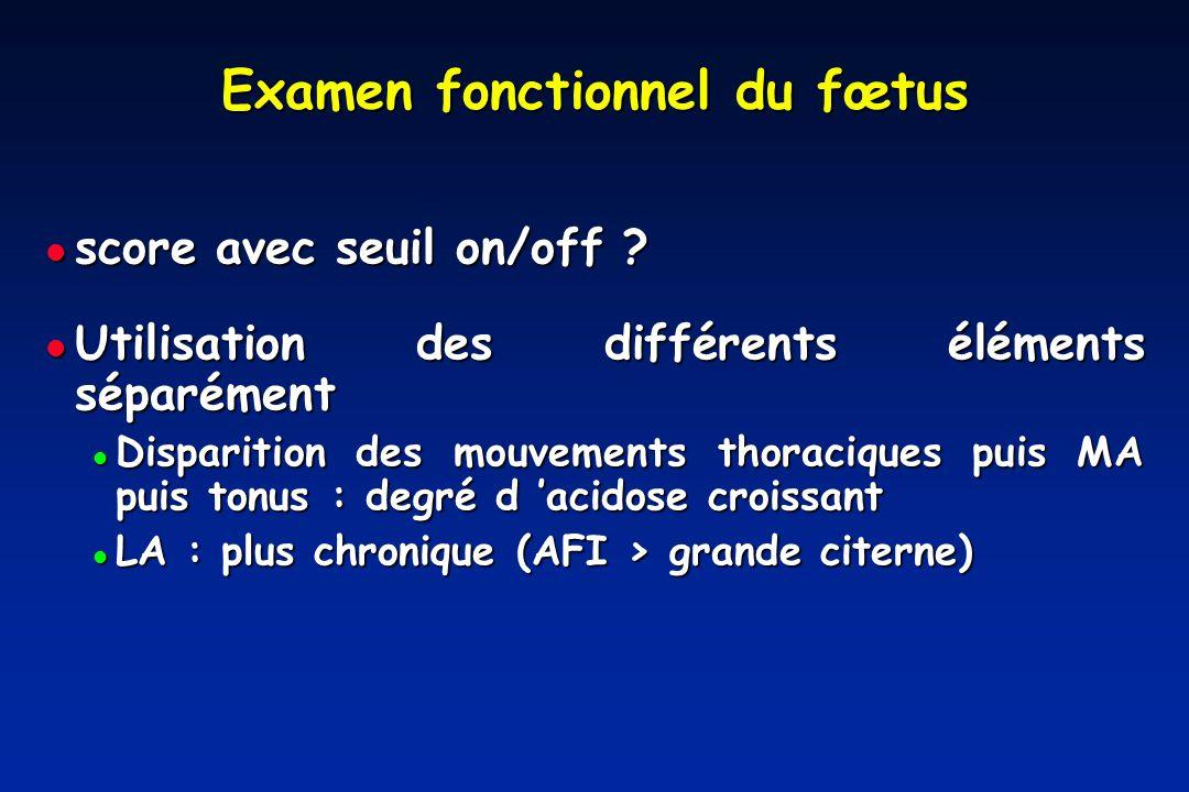 Examen fonctionnel du fœtus score avec seuil on/off .