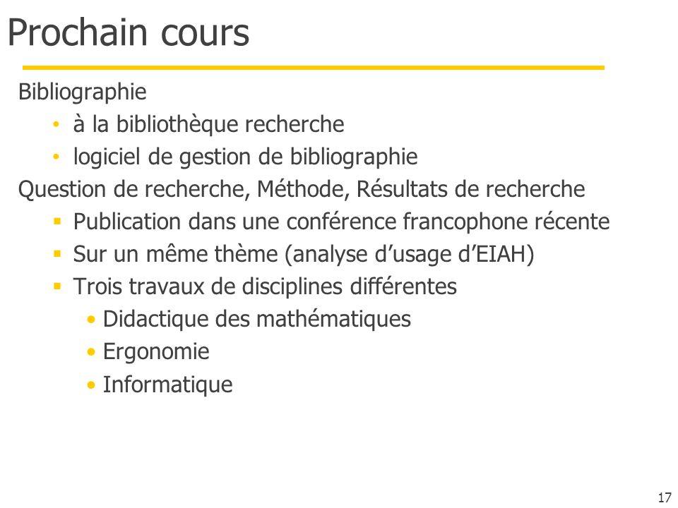 Prochain cours Bibliographie à la bibliothèque recherche logiciel de gestion de bibliographie Question de recherche, Méthode, Résultats de recherche P