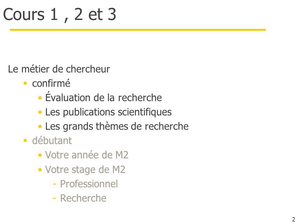 2 Cours 1, 2 et 3 Le métier de chercheur confirmé Évaluation de la recherche Les publications scientifiques Les grands thèmes de recherche débutant Vo