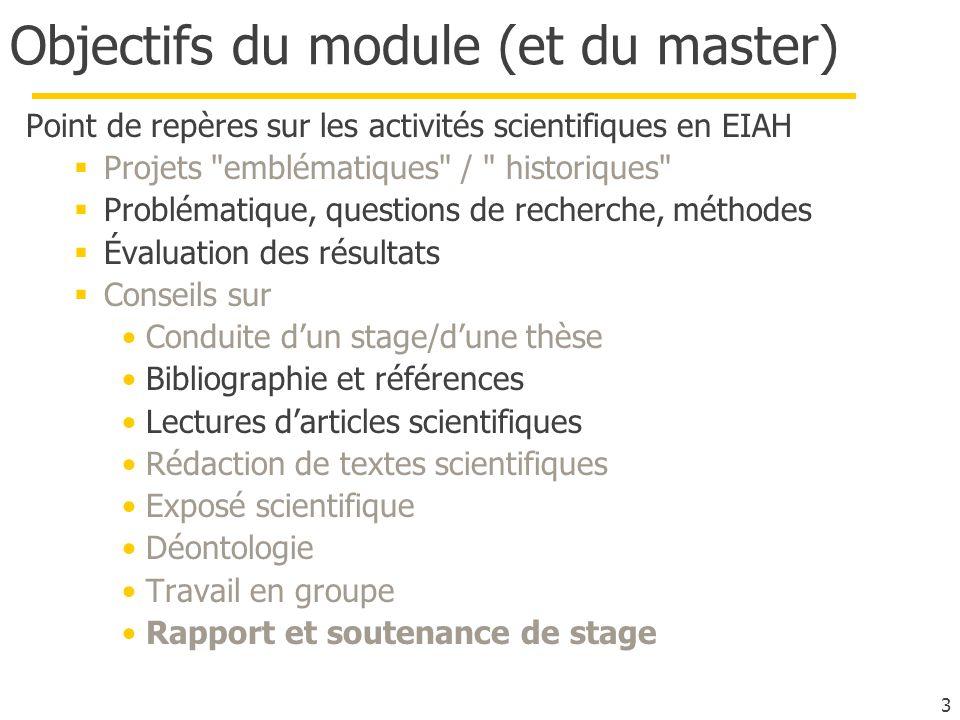 3 Objectifs du module (et du master) Point de repères sur les activités scientifiques en EIAH Projets