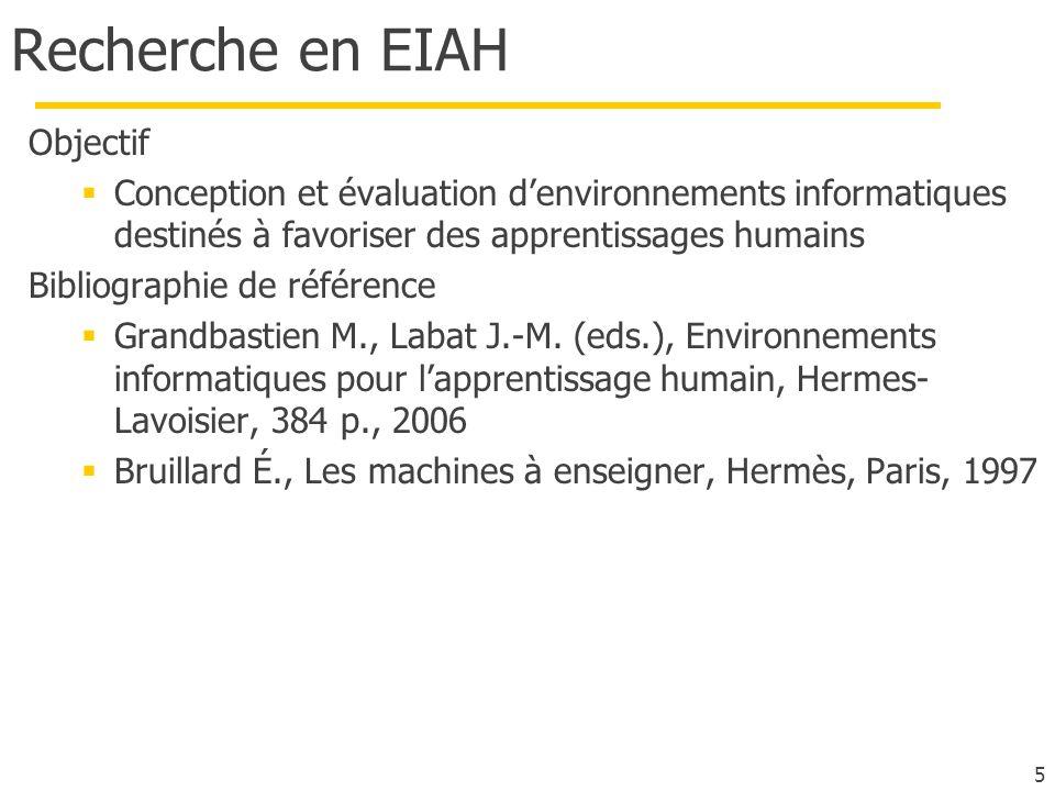 5 Recherche en EIAH Objectif Conception et évaluation denvironnements informatiques destinés à favoriser des apprentissages humains Bibliographie de r