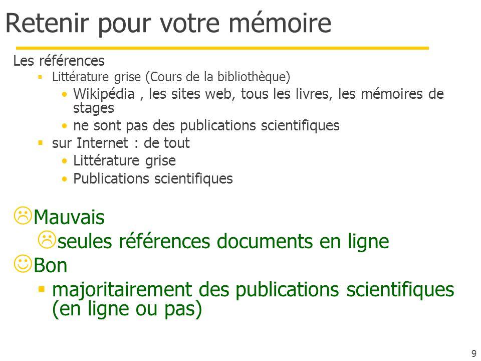 Retenir pour votre mémoire Les références Littérature grise (Cours de la bibliothèque) Wikipédia, les sites web, tous les livres, les mémoires de stag