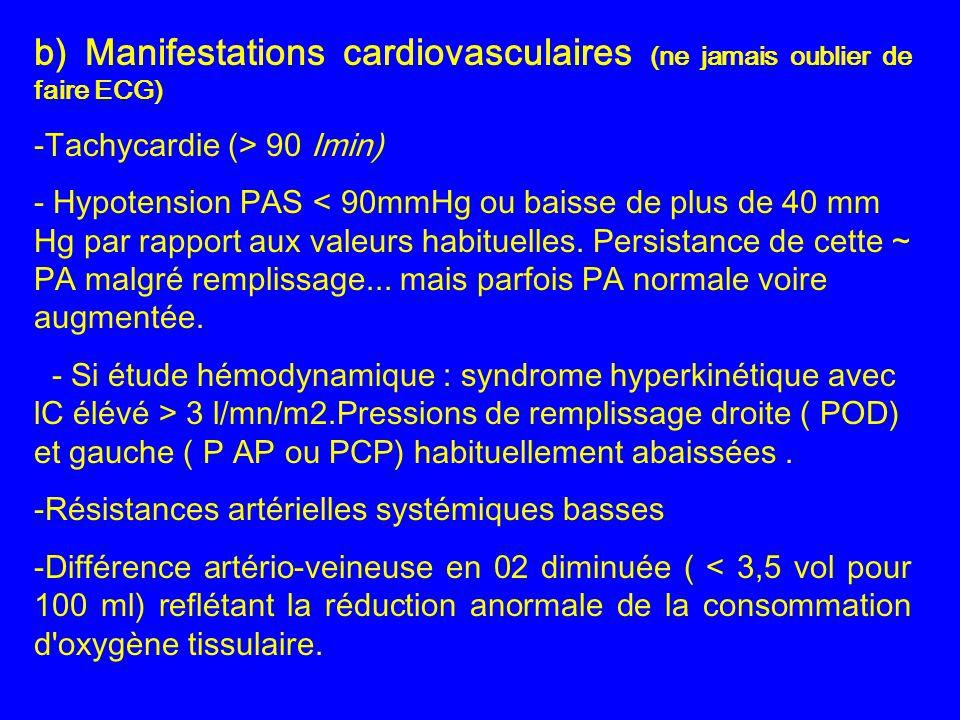 b) Manifestations cardiovasculaires (ne jamais oublier de faire ECG) -Tachycardie (> 90 Imin) - Hypotension PAS < 90mmHg ou baisse de plus de 40 mm Hg