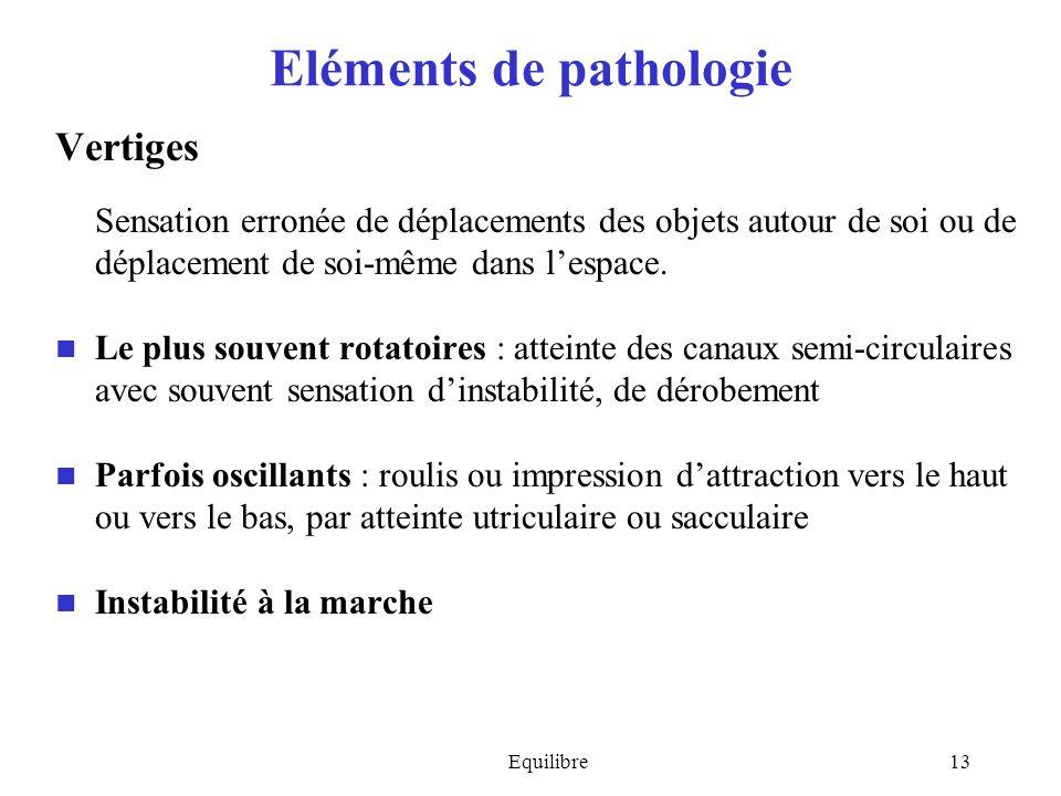 Equilibre13 Eléments de pathologie Vertiges Sensation erronée de déplacements des objets autour de soi ou de déplacement de soi-même dans lespace. Le