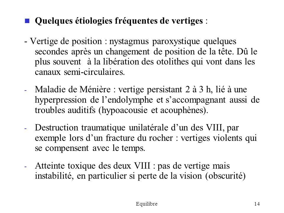 Equilibre14 Quelques étiologies fréquentes de vertiges : - Vertige de position : nystagmus paroxystique quelques secondes après un changement de posit