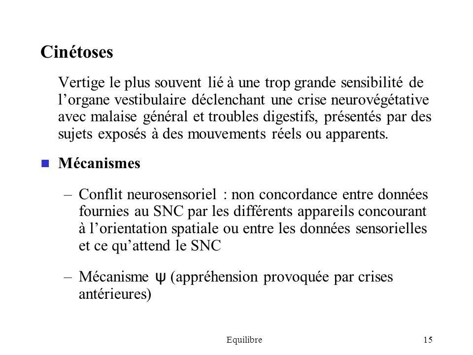 Equilibre15 Cinétoses Vertige le plus souvent lié à une trop grande sensibilité de lorgane vestibulaire déclenchant une crise neurovégétative avec mal