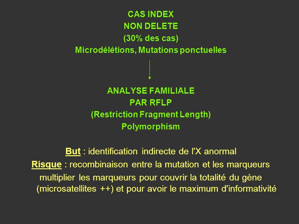 CAS INDEX NON DELETE (30% des cas) Microdélétions, Mutations ponctuelles ANALYSE FAMILIALE PAR RFLP (Restriction Fragment Length) Polymorphism But : i