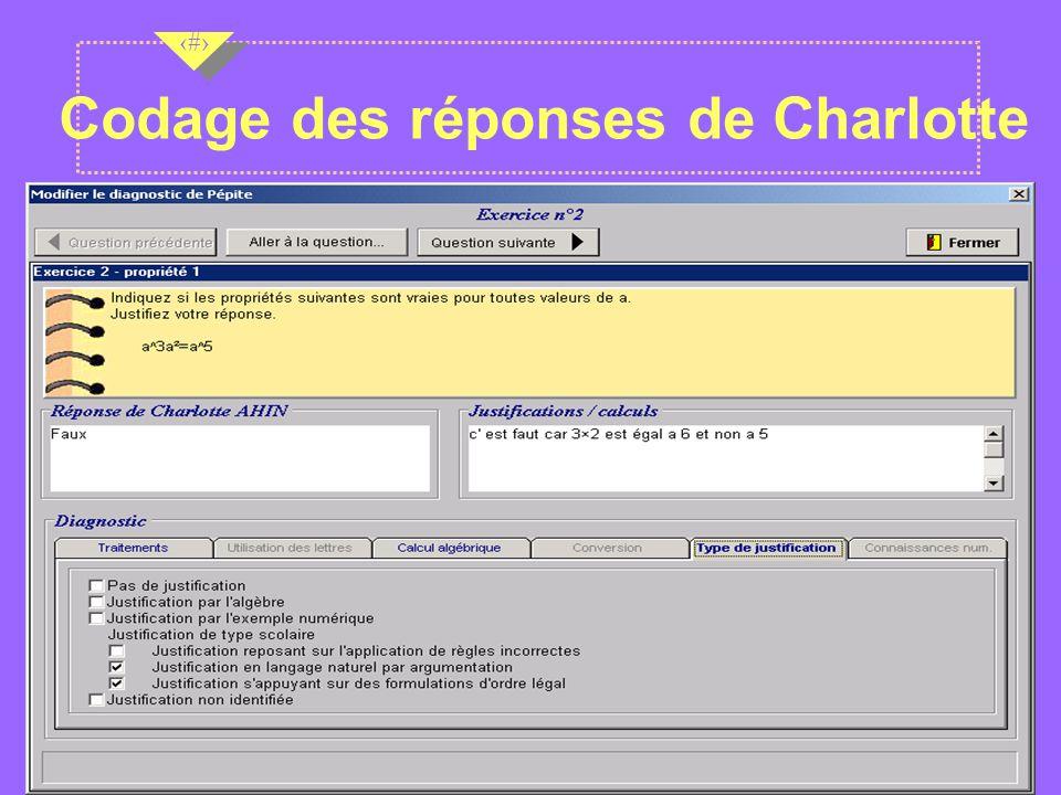 Nov 2001 10 Codage des réponses de Charlotte