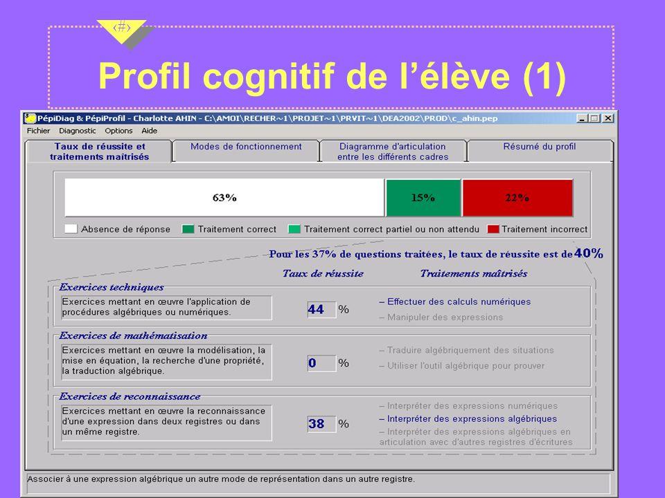 Nov 2001 11 Profil cognitif de lélève (1)