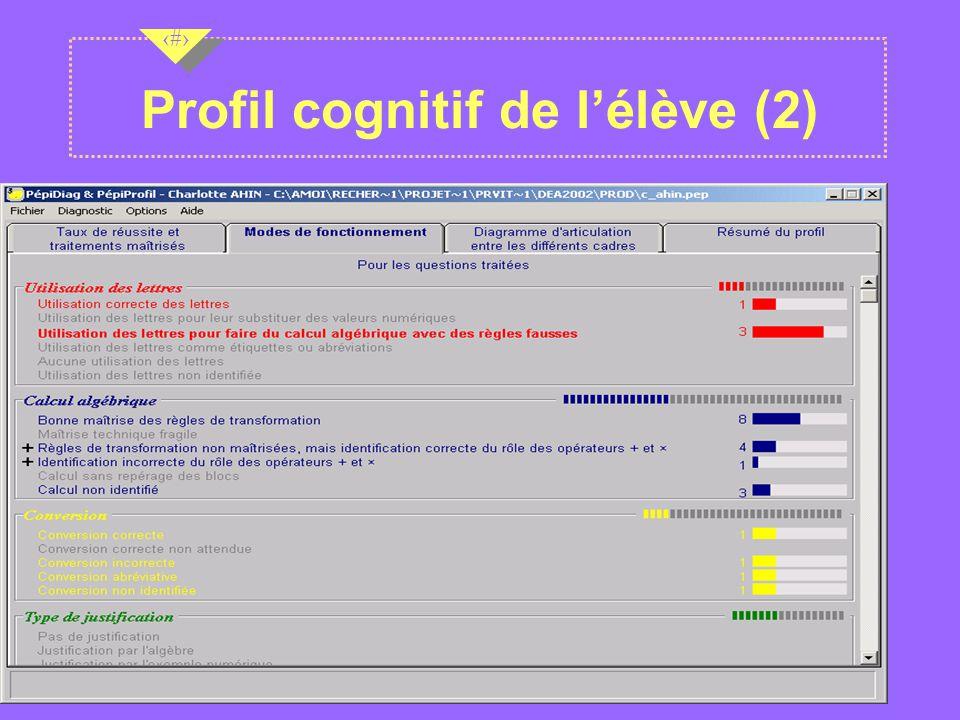 Nov 2001 12 Profil cognitif de lélève (2)