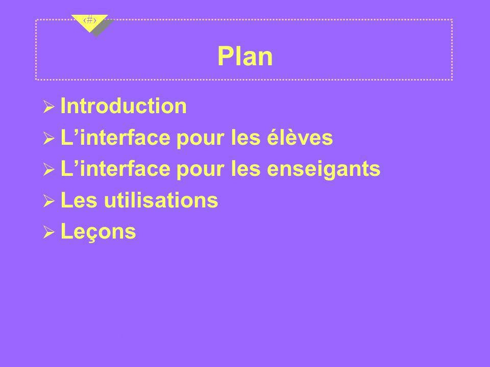 Nov 2001 2 2 2 Plan Introduction Ø Linterface pour les élèves Ø Linterface pour les enseigants Ø Les utilisations Ø Leçons