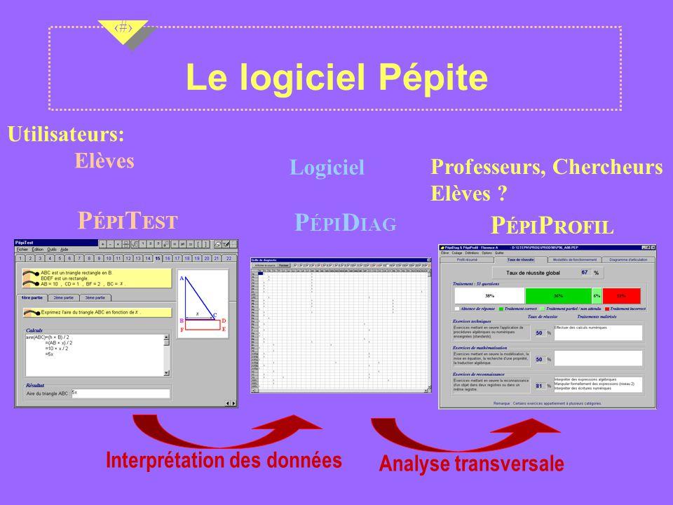 Nov 2001 6 6 6 Le logiciel Pépite P ÉPI T EST P ÉPI P ROFIL Analyse transversale P ÉPI D IAG Interprétation des données Utilisateurs: Elèves Professeurs, Chercheurs Elèves .