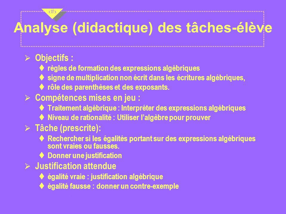 Nov 2001 8 8 8 Analyse (didactique) des tâches-élève Ø Objectifs : règles de formation des expressions algébriques signe de multiplication non écrit dans les écritures algébriques, rôle des parenthèses et des exposants.