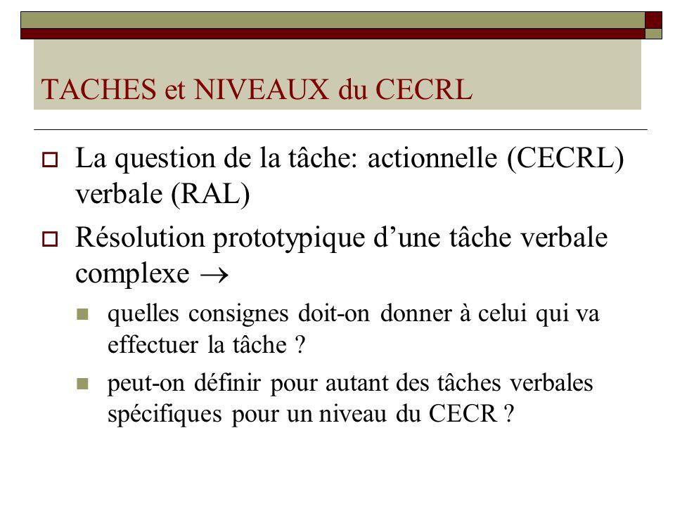 TACHES et NIVEAUX du CECRL La question de la tâche: actionnelle (CECRL) verbale (RAL) Résolution prototypique dune tâche verbale complexe quelles consignes doit-on donner à celui qui va effectuer la tâche .